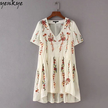 2pcs Summer 2017 Women Fashion Brand Floral Embroidery Dress Female Short Sleeve V Neck Party Casual Dress vestido bordado