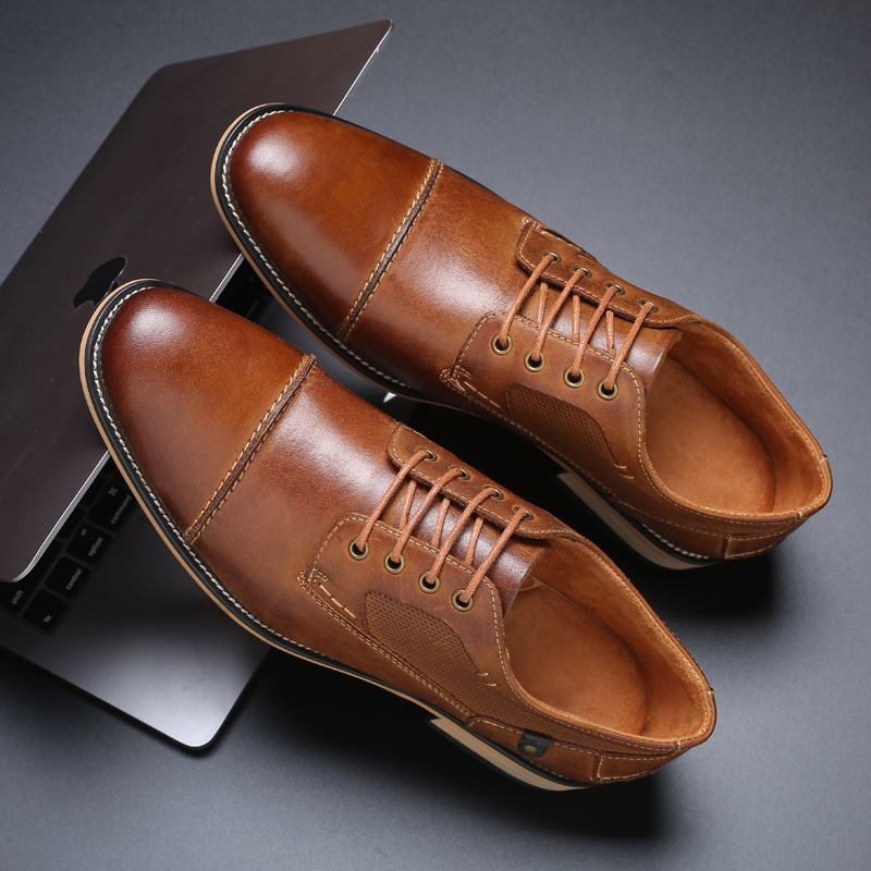 2019 Summer Mens Business Dress Leather Shoes Increased Casual British Large Size