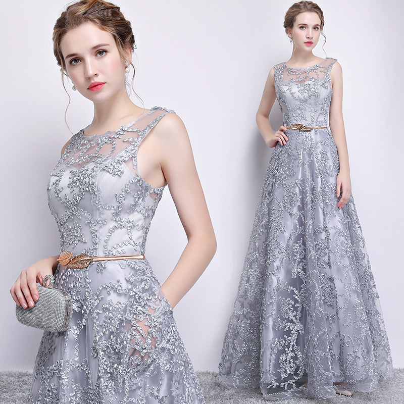 Gray Elegant Long Bridesmaid Dress 5