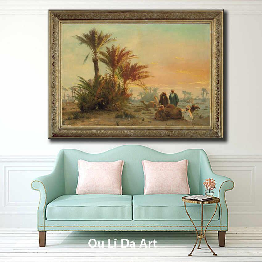 Angka Arab Man Gurun Unta Klasik Pemandangan Lukisan Minyak Kanvas Pencetakan Dicetak Pada Kanvas Wall Art Dekorasi Gambar