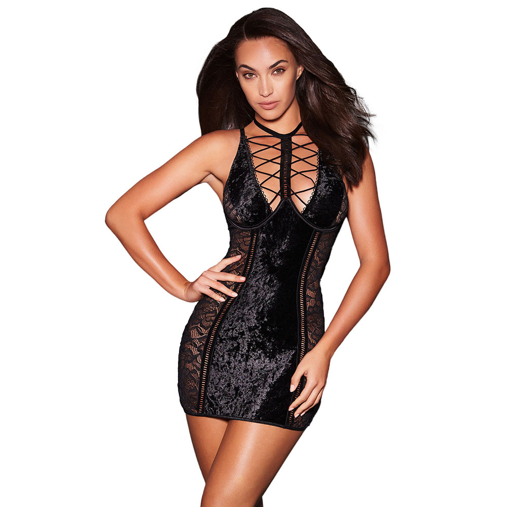 Erotic Babydoll <font><b>Lingerie</b></font> Black Lace and Velvet Women Nightwear Lace Velvet Chemise Tenue <font><b>Sexy</b></font> <font><b>Femme</b></font> <font><b>Erotique</b></font> image