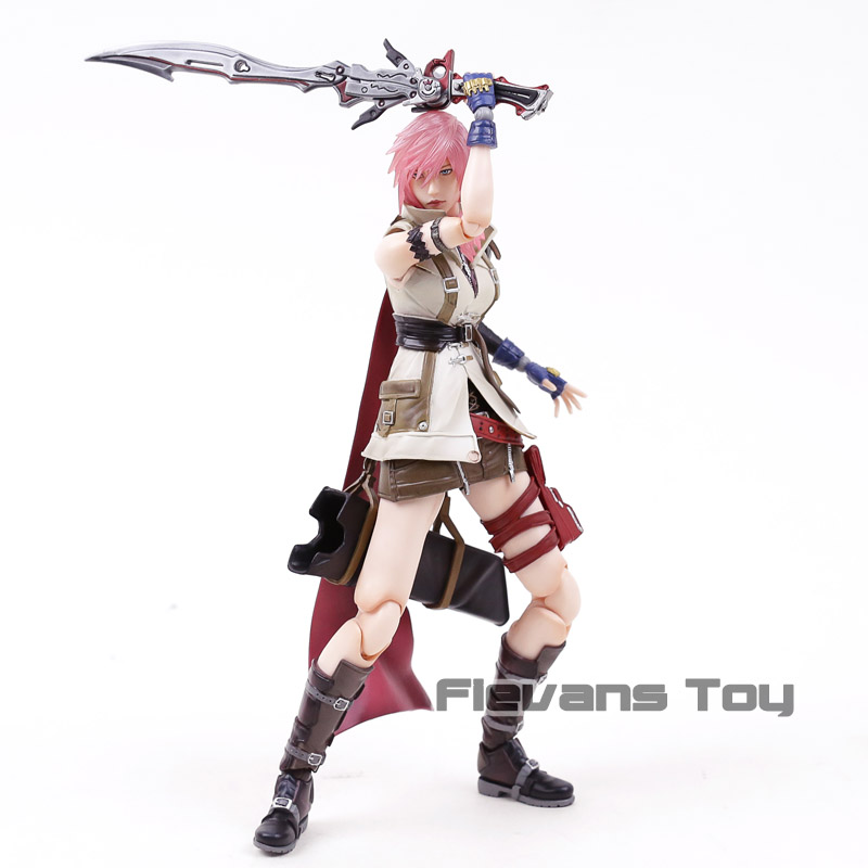 Genuine Play Arts Kai Dissidia Final Fantasy XIII Lightning Eclair Farron PVC Action Figure Collectible Model Toy цены
