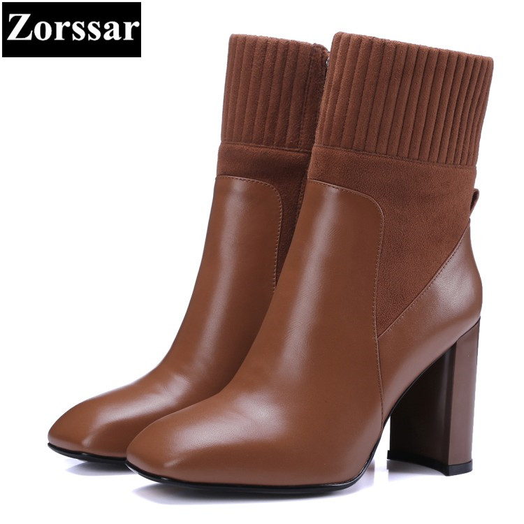 {Zorssar} 2017 NEW fashion Womens boots Square Toe Thick heels Suede ankle Stretch Boots Autumn winter women shoes with heels zorssar brands 2018 new arrival fashion women shoes thick heel zipper ankle chelsea boots square toe high heels womens boots