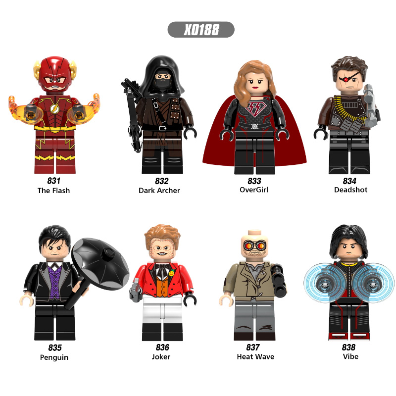 The Flash Figure Super Hero Dark Archer Over Girl Penguin Joker Heat Wave Deadshot Vibe Building Blocks Brick Model Toys