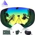 VECTOR Marca Profesional Gafas de Esquí Hombres Mujeres Anti-vaho gafas de Lente UV400 2 Adulto Invierno Esquí Gafas de Snowboard Nieve Gafas conjunto