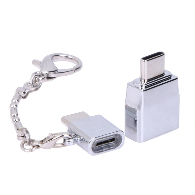 2pcs/lot Usb-c M/f Converter Charging Connector Alloy Type-c Male To Micro Usb Female Adapter Portable Metal With Keychain Pleasant To The Palate Computer & Office