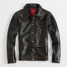 Men's Leather Jacket Lapel Short Calfskin Jacket Men's Casual Wear Vintage Motorcycle Clothing
