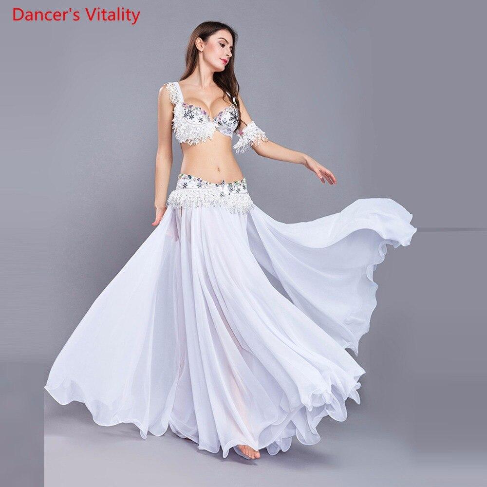 Costumes de luxe pour femmes gland danse du ventre inde danse tenue pour Halloween carnaval 4 pièces. Soutien gorge ceinture ceinture jupe brassards