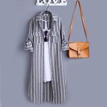 Tunique en lin et coton à rayures verticales, blouse à manches longue pour femmes, mode, tendance coréenne