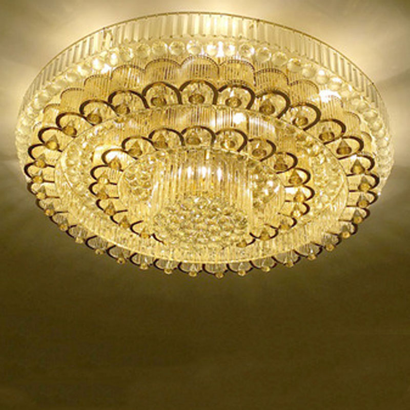 European-Style Luxury Crystal Ceiling Light Round Sitting Room Remote Control LED Light Dia 60/80/100cm Golden And Silver Type free shipping led european style ceiling light 10w 220v anti glare led meeting room offices hotels homelighting