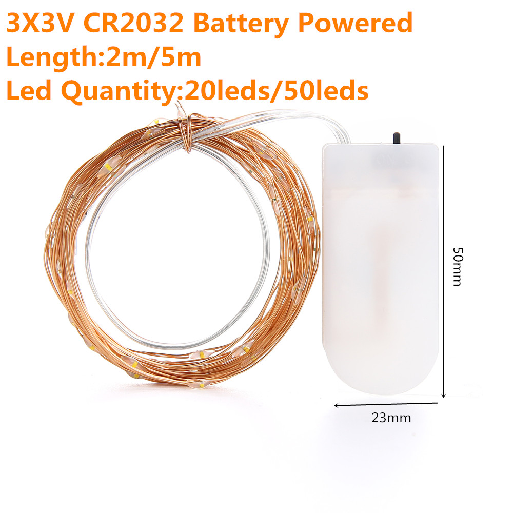 2M 5M10M Strip Light Led String Light Cooper Wire 3AA battery Christmas Light For Garland Holiday Fairy Wedding Party Decoration 4