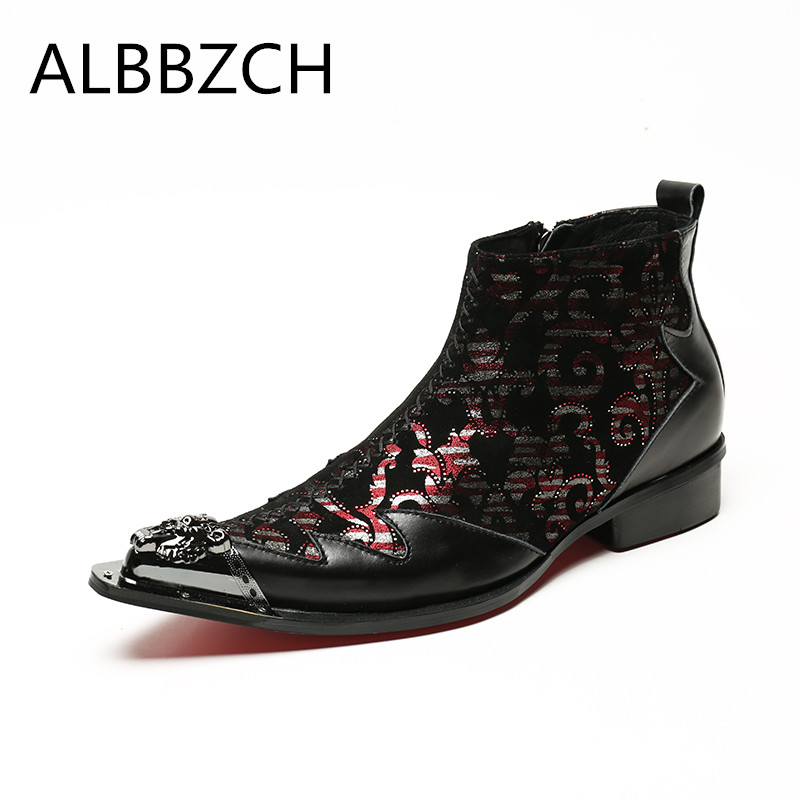 Boots De Zip Ankle Botas À 1 Impressão Apontou Metal Busines Noite Toe Projeto Homens Novos Couro Festa Moda Luxo Ocasional zq4PvqRI