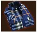 Gruesas y largas camisas A Cuadros de manga larga Camisa Para Hombre de la cachemira caliente del ocio de invierno venta caliente XZ967
