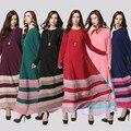 Adogirl Muslim Dress Женщины Моды Радуга Красочные Длинные Платья Макси Свободные Abayas Абая Дубай Кафтан Муслин Vestidos 6 Цветов