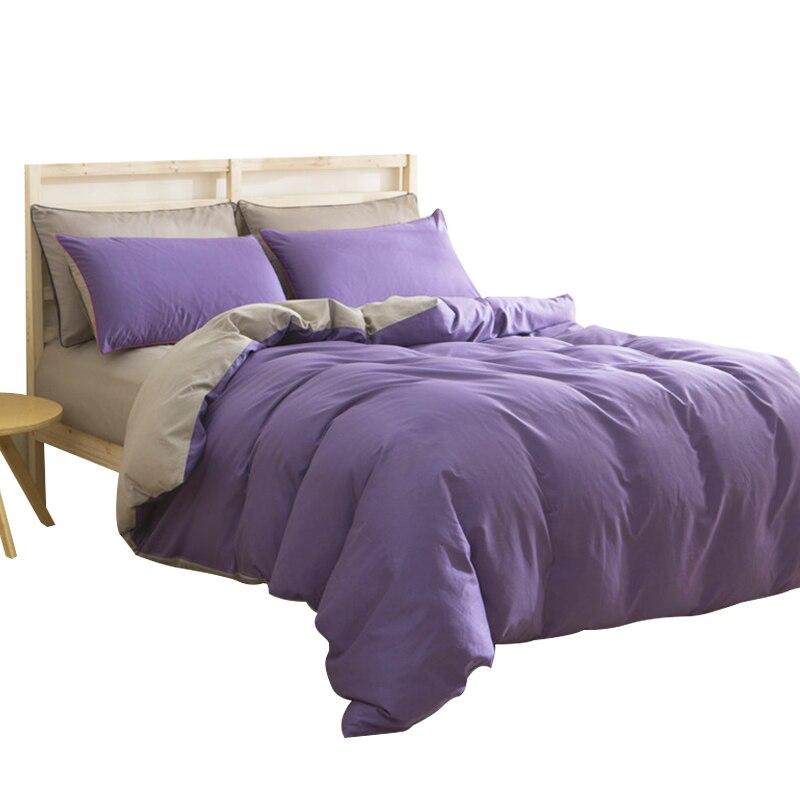 CARA CARLE Grau Und Lila Bettwäsche Einfachen Stil Bettbezüge Satz Solide  Plain Bettbezug Bettdecke Weiche König