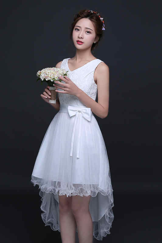 988660c53e256 Sweet Memory White Bridesmaid dresses 2018 high low lace up red bridesmaid  dress with bow