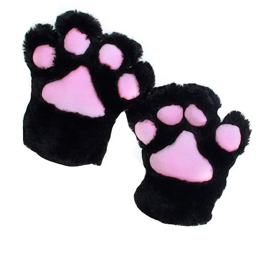 2 X Glove Cat's Paw Plush Costume For Cosplay - Black