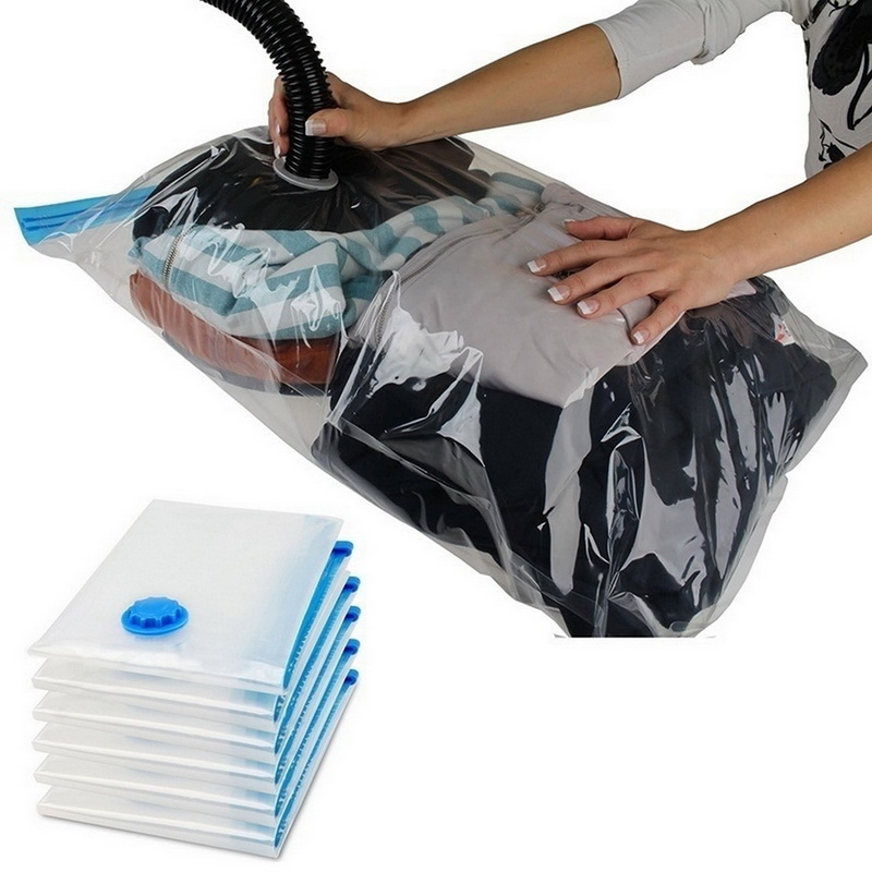 Home Vacuum Bag for Clothes Quilt Transparent Storage Bag Foldable Compressed Organizer Space Saving Seal Bags Organization 1