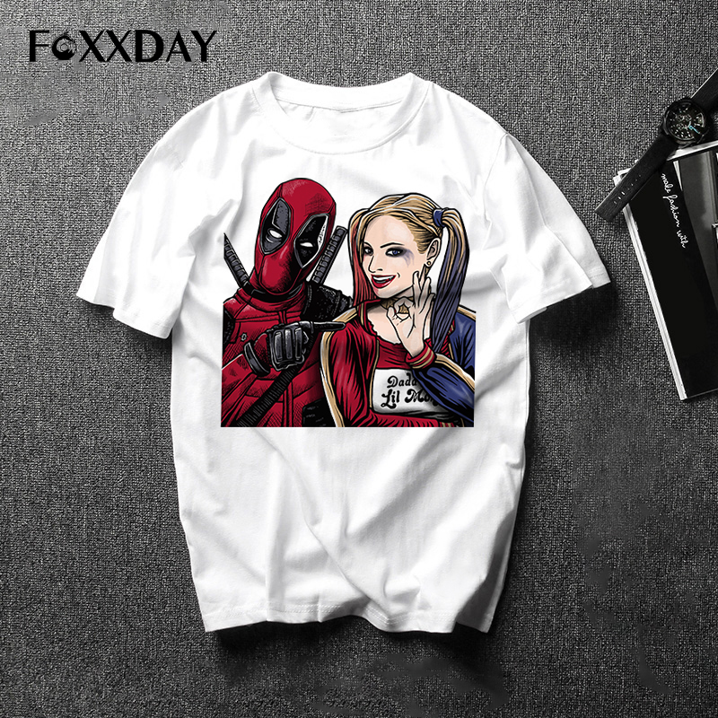 Deadpool and Beauty T shirt Men Fashion Design Anime Printed T-Shirts Men Casual Hipster tee shirt Free Shipping Camiseta