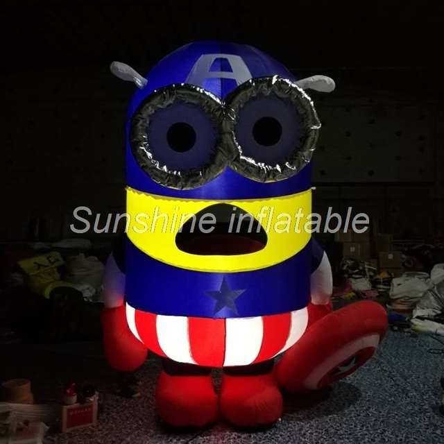 Hot sale lovely Captain America style 3m giant inflatable minion with led lighting for Christmas decoration