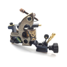 2013 High Quality Handmade Tattoo Damascus Machine Gun 10 Wraps Coils For Needle Ink Free Shipping