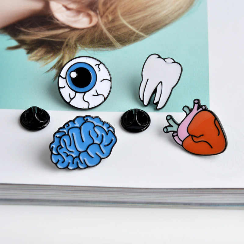 Kualitas Tinggi Kreatif Lencana Otak/HEART/Bola Mata/Gigi Bros Wanita Kerah Tas Topi Pin Pria jaket Lencana Kreatif Hadiah