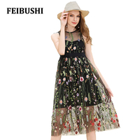 FEIBUSHI New Sexy Women S Summer Floral Embroidery Lace Dresses Cute Black White Sleeveless Midi Dress