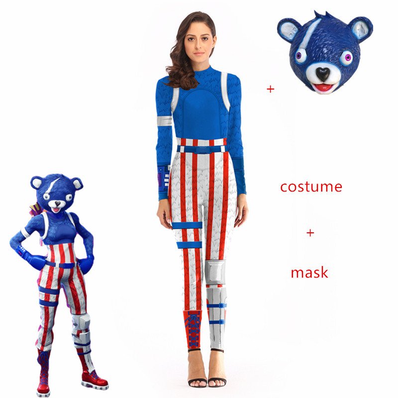 New Fireworks blue Sexy Costume Women Battle Royale clothes set fornited Adult Halloween Carnival Costumes Fantasia clothing set