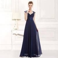 HE09672SB V Neck Royal Blue Sequins Chiffon Ruffles Empire Line Long Evening Dress 2014 New Arrival