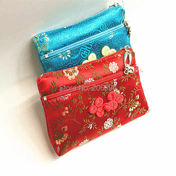 Wholesale Chinese style characteristic gift double silk embroidery pouch zero wallet bags 2pc/lot