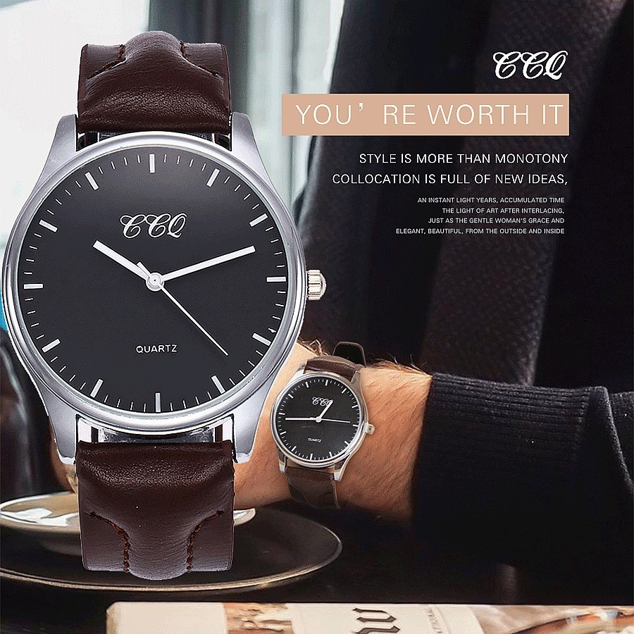 CCQ Brand Fashion Men Leather Quartz Watches Casual Business Sport Male Clock Waterproof Military Wrist Watch Relogio Masculino oubaoer fashion top brand luxury men s watches men casual military business clock male clocks sport mechanical wrist watch men