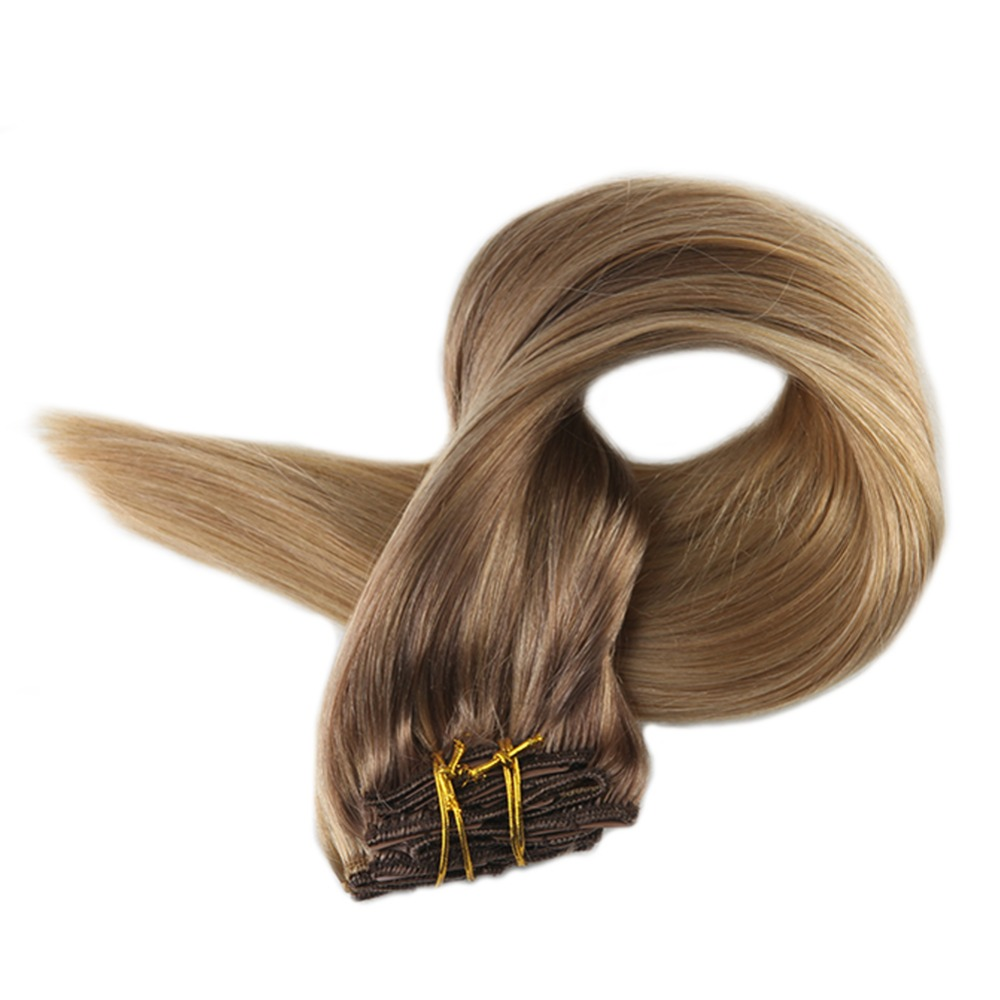 Full Shine Brazilian Clip In Hair Extensions 10Pcs 100g Balayage Ombre Color 10 Fading To 14 Remy Blonde Roots Clip In Extension