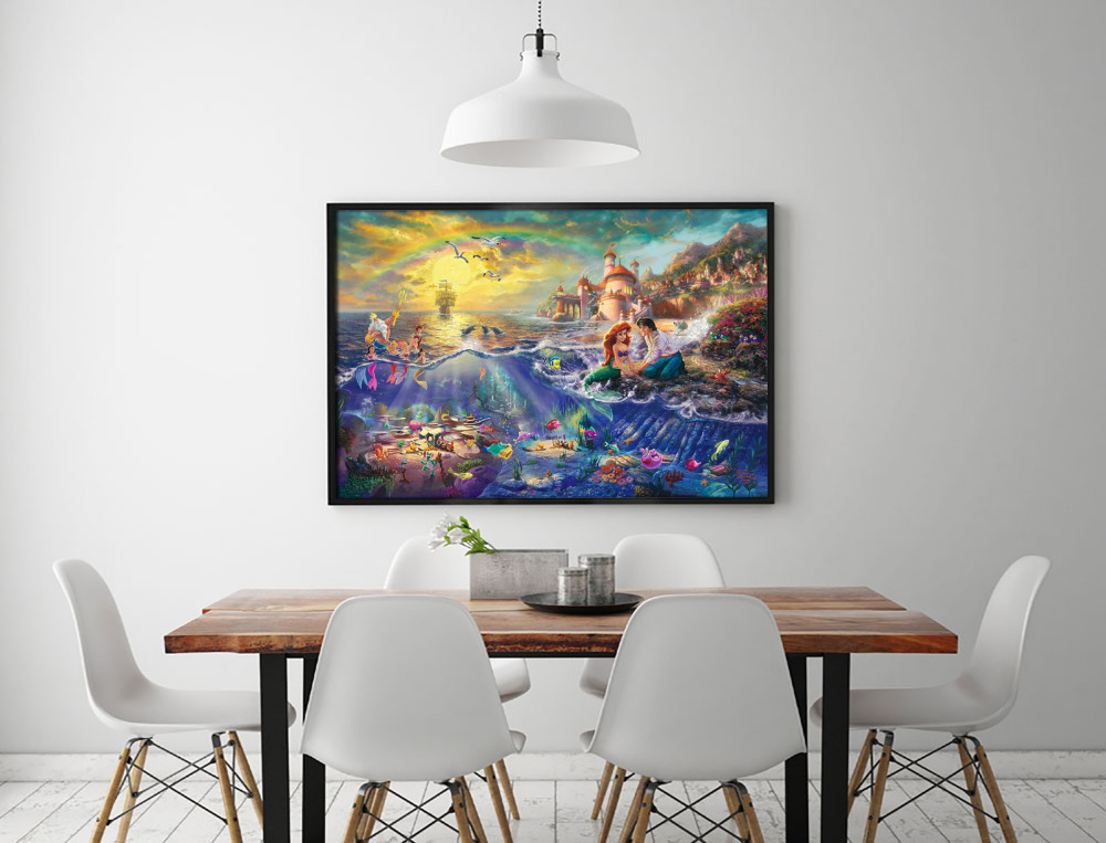 Little Mermaid Home Decor Part - 38: Aliexpress.com : Buy H1216 Thomas Kinkade The Little Mermaid, HD Canvas  Print Home Decoration Living Room Bedroom Wall Pictures Art Painting From  Reliable ...