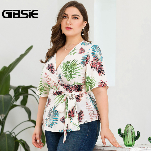GIBSIE Plus Size Tropical Print V-Neck Belted Wrap Top Blouse Women 2019 Summer Casual Short Sleeve Ladies Blouses Tops 4