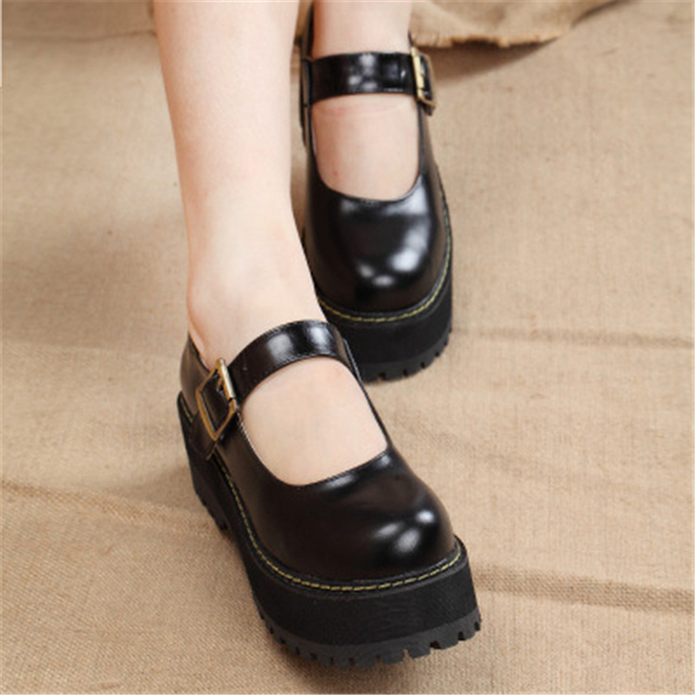 Fashion New 2017 Women Creepers Pu Women Flats Platform Mary Jane Ankle Strap Casual Ladies Loafers Shoes