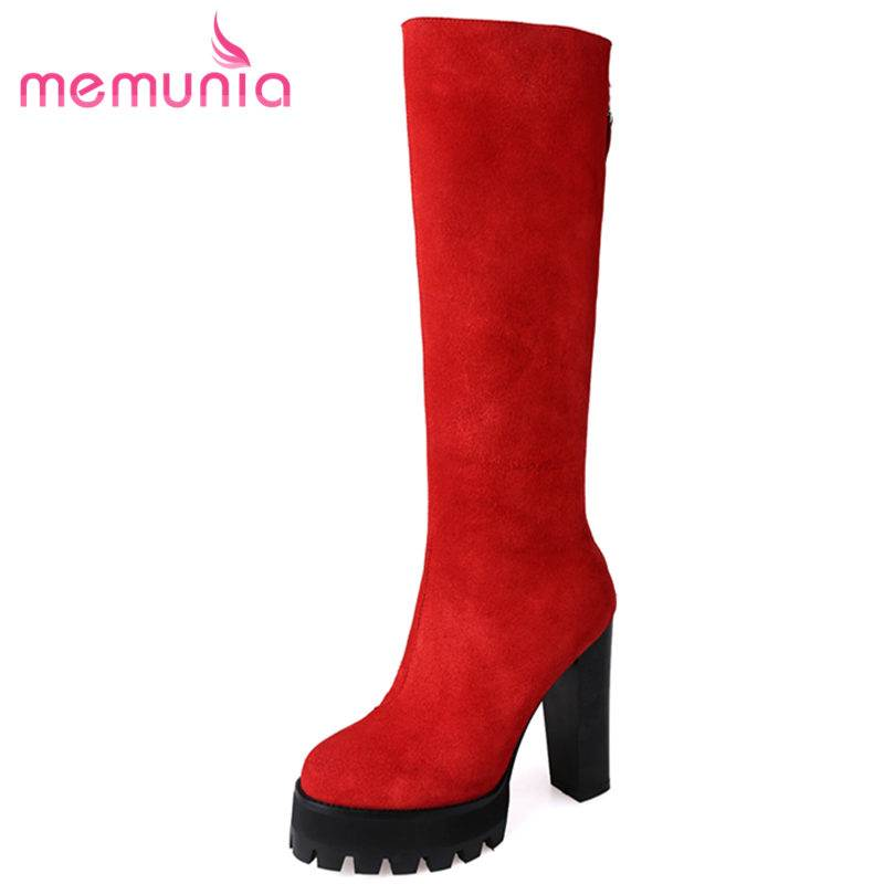 MEMUNIA HOT 2018 fashion platform cow suede leather boots thick high heels knee high boots for women zipper autumn female boots morazora new china s style knee high boots flowers embroidery spring autumn boots for women zipper cow suede med heels boots