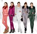 Invierno de las mujeres 2014 moda casual lace patchwork caliente abajo conjunto abrigo de down vest + dow t-shirt + abajo pantalones 3 piece chaqueta conjunto D1525