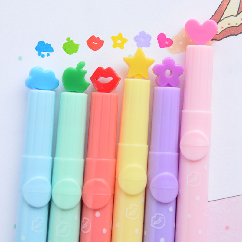 DELVTCH 6pcs/set Lovely Stamp Seal Highlighter Art Marker Color Pen Creative candy color Watercolor Stationery Children Gift