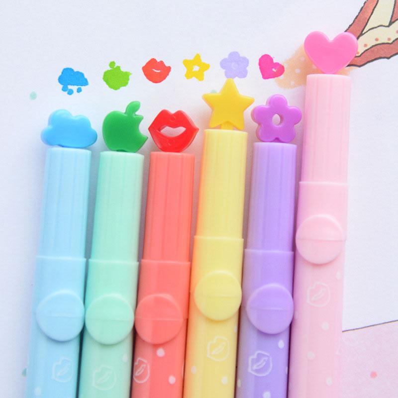 DELVTCH 6pcs/set Lovely Stamp Seal Highlighter Art Marker Color Pen Creative Candy Color Watercolor Pen Stationery Children Gift