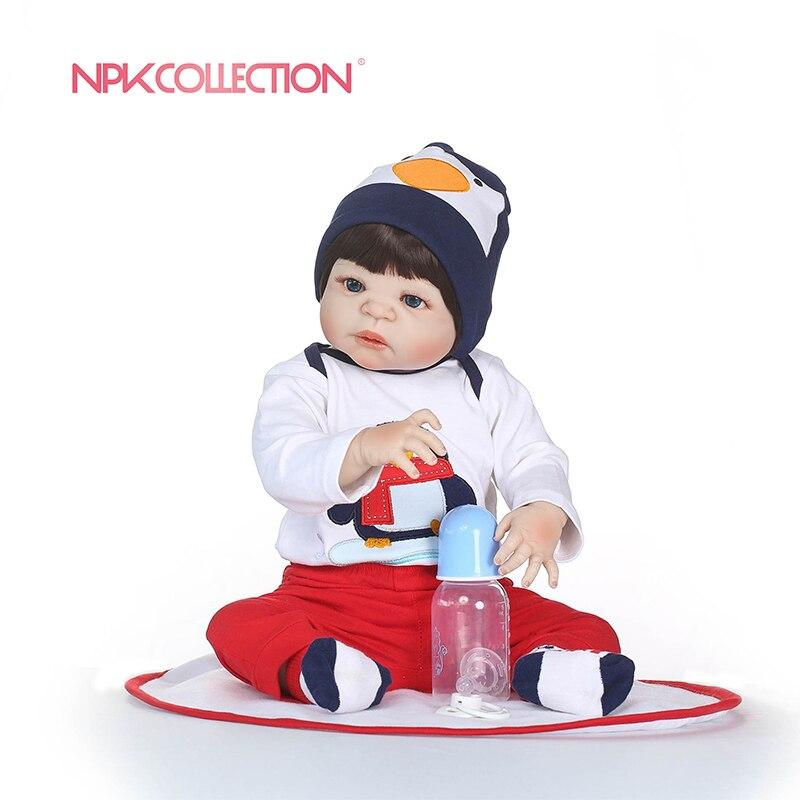 NPKCOLLECTION реалистичные силикона Reborn Baby Menina жив 23 ''Новорожденный ребенок Куклы полное тело виниловых дети Playmates Toys на день рождения