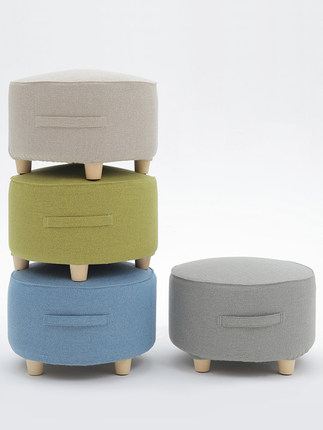 Low stool home sofa bedroom living room coffee table stool fashion creative solid wood cloth small bench for shoes bench