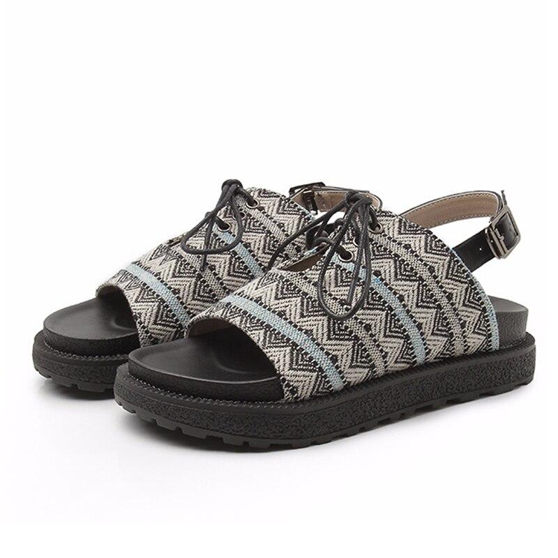 Cordones Sandalias Roma Zapatos Grand 43 Impresión Size35 Gladiador De Mujer Plataforma Estilo Xwz4703 brown Con Vintage strap Black Hee Verano T qn7qr4