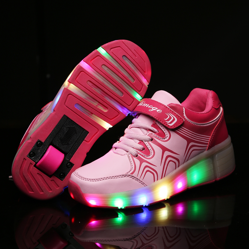 2017 New Children Roller Shoes Boy & Girl Automatic LED Lighted Flashing Roller Skates Kids Fashion Sneakers With Wheel children roller sneaker with one wheel led lighted flashing roller skates kids boy girl shoes zapatillas con ruedas