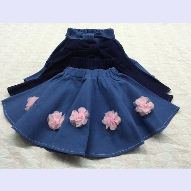 2016 осень зима девушки джинсовая юбка с розовыми цветами хлопка шары мини-юбка девочка faldas юбки балетной пачки для детей