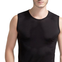 Mens Mesh Short-sleeve T Shirts Tees Summer Compression Sleeveless T Shirts Combat Vest Mesh Breathable Waistcoat
