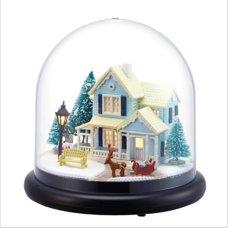 doll house winter house snow wooden doll houses Nordic Fairy Tale miniature home assembling toys dollhouse diy glass ball kit 2