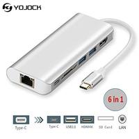 USB C Docking/USB C Multiport Adapter USB 3.1 To HDMI 4K/PD Charging Port/USB 3.0/RJ45 Gigabit Ethernet LAN Network/SD Card