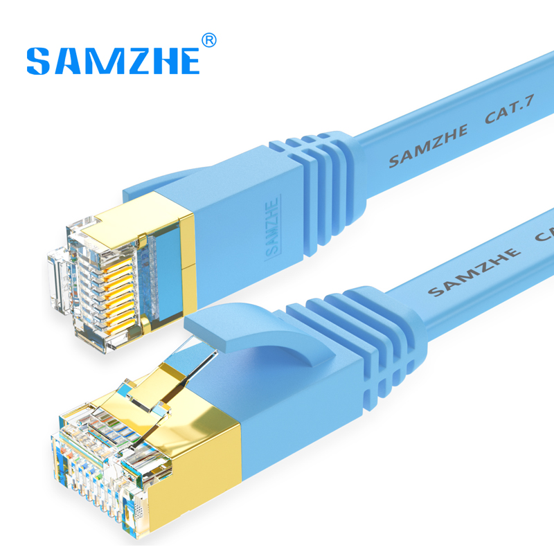 SAMZHE Flat Cat7 Ethernet Patch Cable - RJ45 Computer,PS2,PS3,XBox Networking LAN Cords 1/2/3/5/8/10m