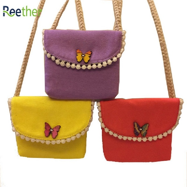 7220fac5d41a Reether Butterfly Buckle Girls Small Coin Purse Children s Mini Wallet Kid  Shoulder Bags Decoration Gifts