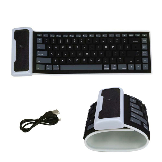 2017 New Arrivals Ultra Slim Portable USB Mini Flexible Silicone PC Keyboard Foldable For Mac PC Macbook Laptop Notebook Black